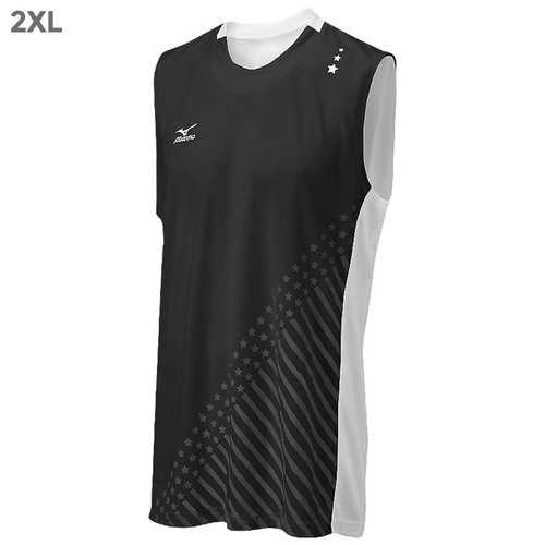 "Mizuno DryLite Men""s National VI Sleeveless Jersey, Black & White - 2XL"