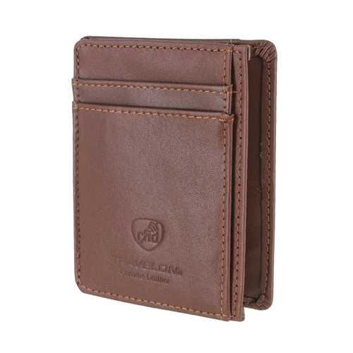 Travelon Leather Hack-Proof RFID Blocking Cash Card Sleeve and Wallet Brown