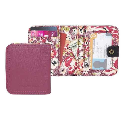 "Travelon Women""s Hack-Proof RFID Blocking Leather Bifold Wallet Card Case Berry"