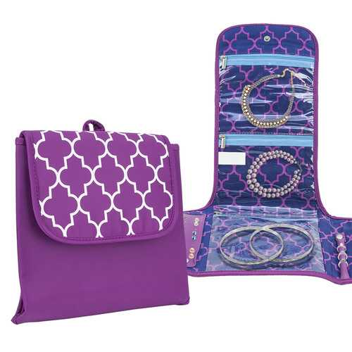 Travelon Folding Jewelry Organizer Bag Necklace Earrings Rings Bracelet Purple