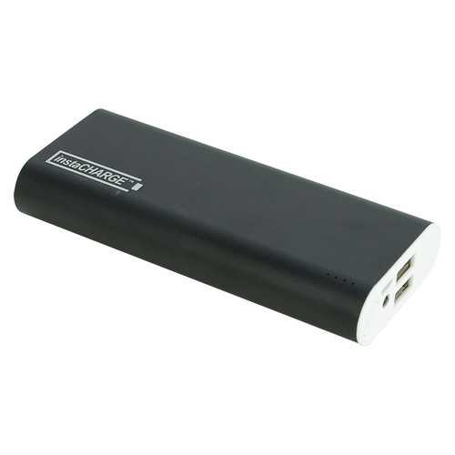 instaCHARGE 12000mAh Dual USB Power Bank Portable Battery Charger - Black