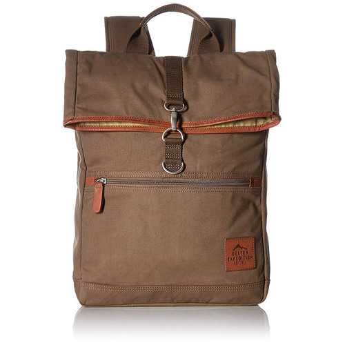 """Buxton Men""""s Expedition II Huntington Gear Fold-Over Canvas Backpack Olive"""