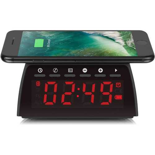 Aluratek Bluetooth Streaming FM ClockRadio with Qi Wireless Charging Pad ABQC01F