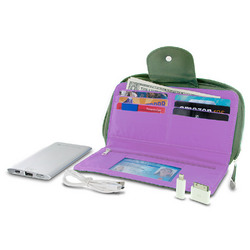 Travelon RFID Blocking Clutch Wallet With 5000mAh Power Bank - Olive