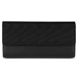 Travelon SafeID RFID Blocking Card Holder Accent Flap Clutch Wallet Black