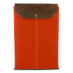Graf & Lantz Felt Sleeve Case with Leather Flap for 11 MacBook Air - Orange