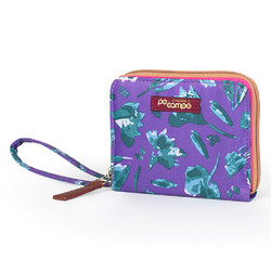 "Po Campo Bill Fold Women""s Wallet, Purple Petals"