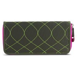 Travelon SafeID Hack-Proof Embroidered Ladies RFID Wallet - Olive/Berry