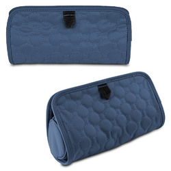 Travelon Jewelry and Cosmetic Clutch w/ Removable Center Pouch, Blue Quilted