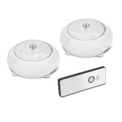 Wireless Pivot and Swivel LED Puck Lights with Remote Control 2 Pack