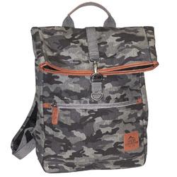 "Buxton Men""s Expedition II Huntington Gear Fold-Over Canvas Backpack Gray Camo"