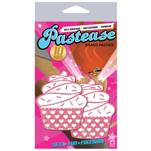 Pastease Cupcake Glittery Frosting Nipple Pastie w/Heart Accents - Bubble Gum O/S