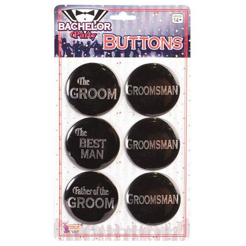 Bachelor Party Groom Buttons - Asst. Pack of 6