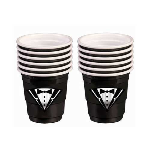 Bachelor Tuxedo Plastic Shot Glasses - Black Set of 12
