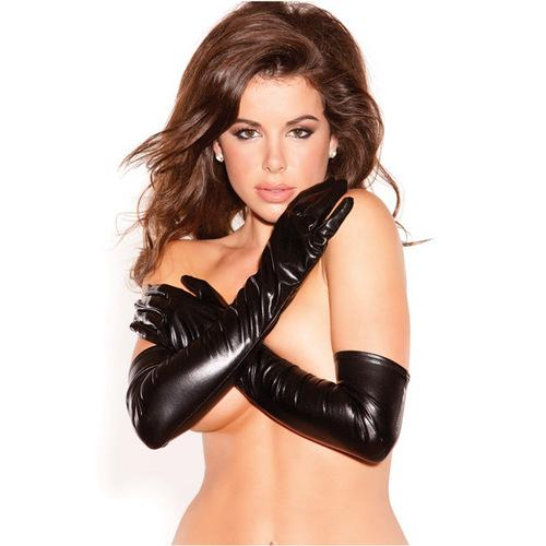 Kitten Wet Look Sexy Seduction Gloves Black O/S