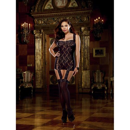 Lace Garter Dress w/Stretch Trim Straps, Satin Ribbon Back & Attached Stockings Blk QN