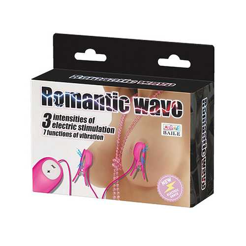 Romantic Wave Electro Shock Vibrating Nipple Clamps - Rose