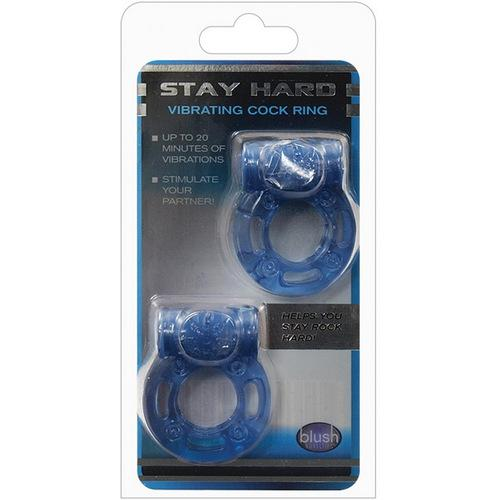 Blush Stay Hard Vibrating Cock Ring - Blue Pack of 2