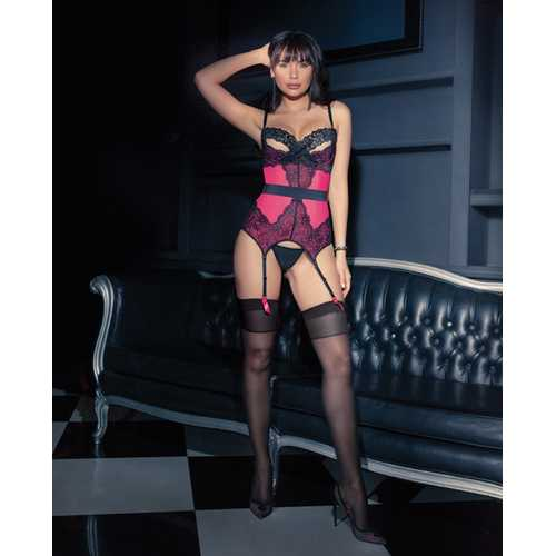 Powernet Bustier w/Padded Demi Cup, Removble Belt & Garters Hot Pink/Black LG
