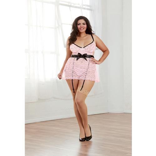 Floral Lace Underwire Babydoll w/Adjstable Staps & Adjst & Attch Grters & G-Stn Blck/Vntge Pink 2X