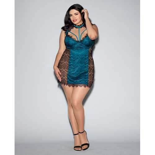 Eyelash Lace Gartr Slip Chemise w/Stretch-Satin-Lined Front Panel & Underwire Cups Black/Teal 1X