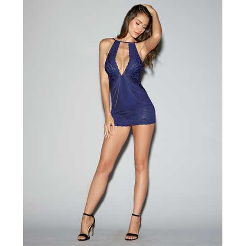 Strech Lace & Mesh Chemise w/Adjustable Shoulder Straps & Thongs Midnight Blue MD
