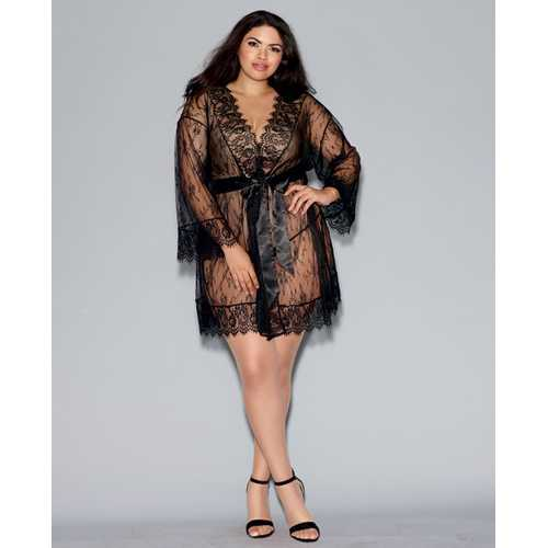 Long Sleeved Lace Kimono Robe w/Eyelash Trim & Attch. Satin Belt Black 2X