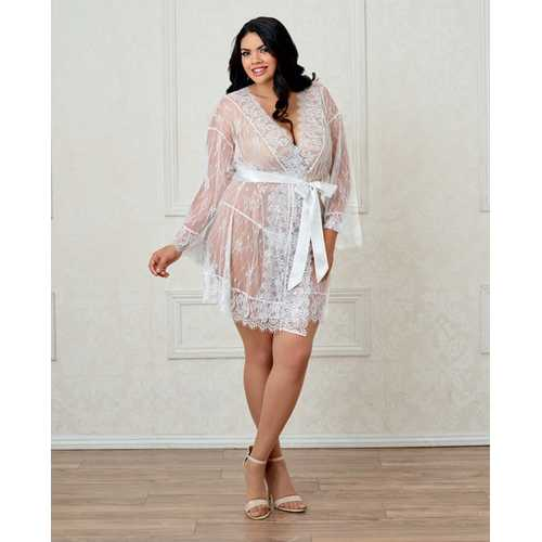 Long Sleeved Lace Kimono Robe w/Eyelash Trim & Attch. Satin Belt White 1X