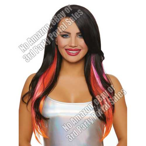 Long Straight Layered 3 pc Hair Extensions - Magenta/Neon Pink/Orange