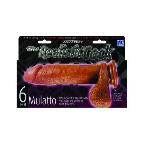 "6"" Realistic Cock w/Balls - Brown"