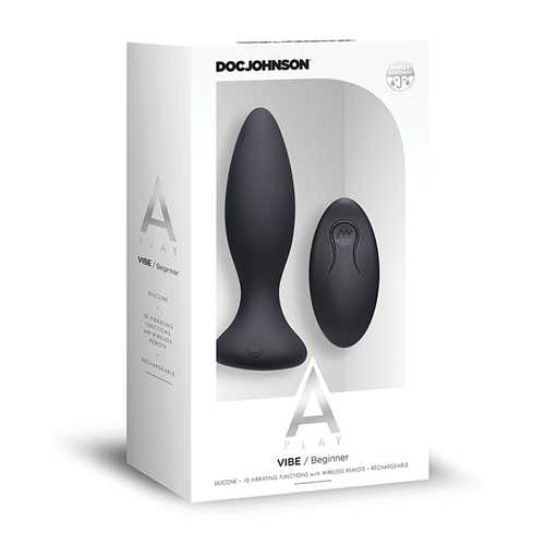 A Play Rechargeable Silicone Beginner Anal Plug w/Remote - Black