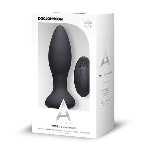 A Play Rechargeable Silicone Experienced Anal Plug w/Remote - Black