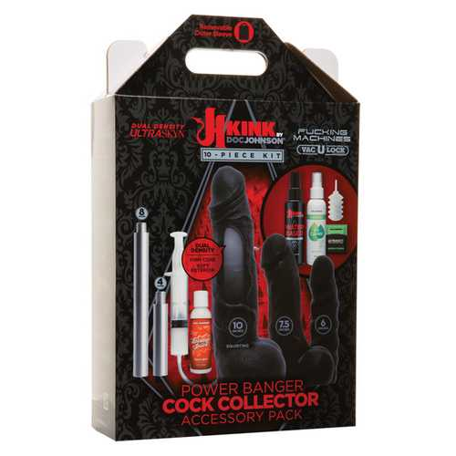 Kink Fucking Machines Power Banger Cock Collector Accessory Pack - Black 10 pc Kit