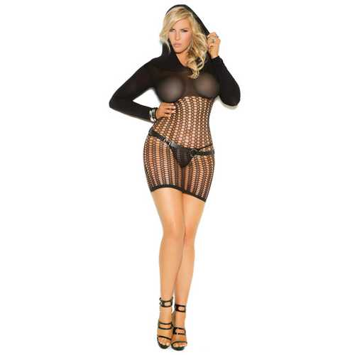 Vivace Crochet Long Sleeve Mini Dress w/Hood Black QN