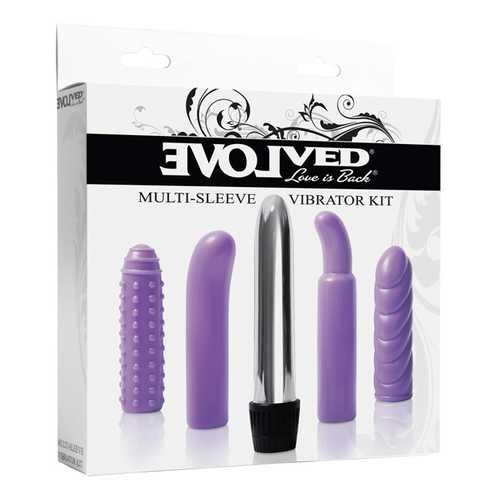 Evolved Multi Sleeve Vibrator Kit w/4 Textured Sleeves & Vibe - Purple