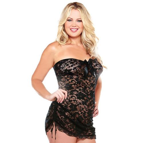 Curve Strapless Lace Dress w/Adjustable Side Detail & Thong Black 3X/4X