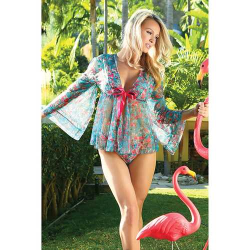 Spring/Summer Floral Mesh Robe w/Tie Front Floral 1X/2X