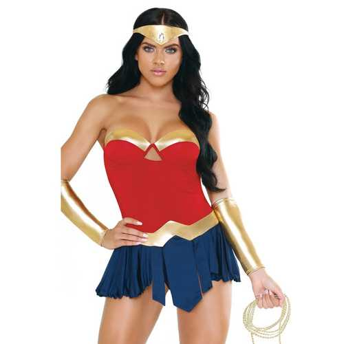 Play Wonderbabe Headpiece, Molded Cup Dress, Panty, Wristcuffs & Rope Red/Gold/Blue L/XL