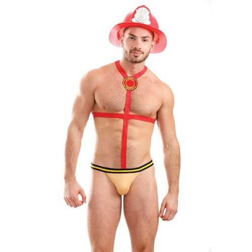 Mens Play Fire Flamer Fireman Harness Underwear Red LG