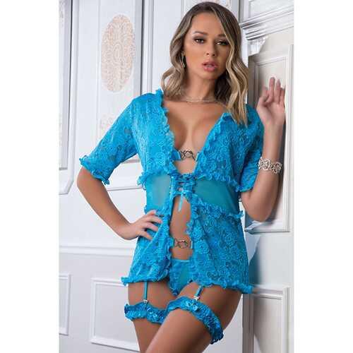 Lace Robe, Open Front Bra, Thong Garter w/Leg Garters Neon Bluejay O/S