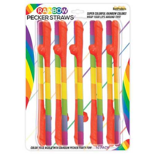 Rainbow Pecker Straws Pack of 10