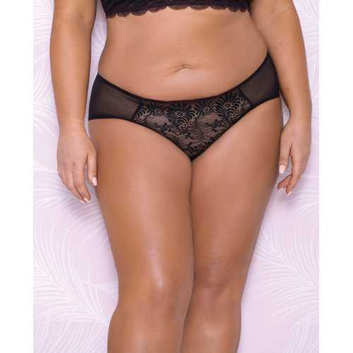 Scallop Lace & Mesh Hipster Panty Black 3X