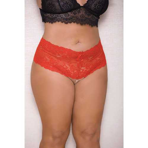 Lace & Pearl Boyshort w/Satin Bow Accents Red 3X/4X
