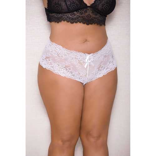 Lace & Pearl Boyshort w/Satin Bow Accents White 1X/2X