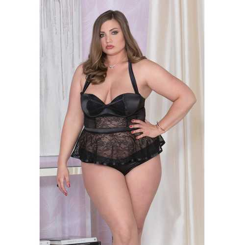 Stretch Satin, Lace & Mesh Belted Bustier w/Padded Underwire Cups & Panty Black 2X