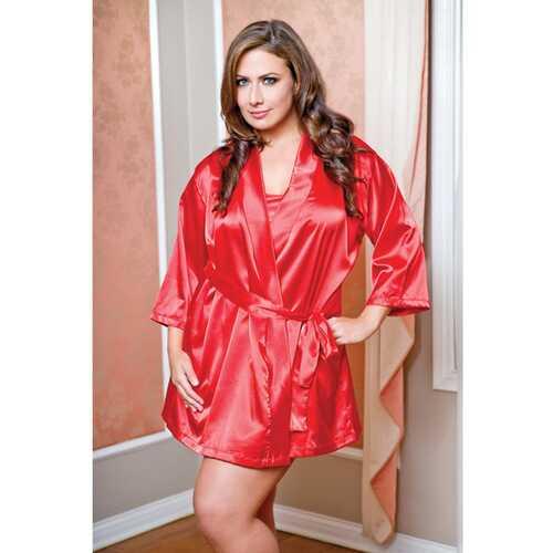 Satin 3/4 Sleeve Robe w/Matching Sash Red 1X/2X