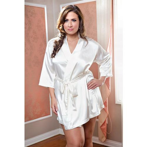 Satin 3/4 Sleeve Robe w/Matching Sash White 1X/2X