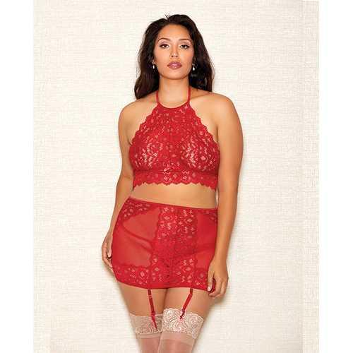 Halter Bra, Garter Skirt & Panty Red 1X