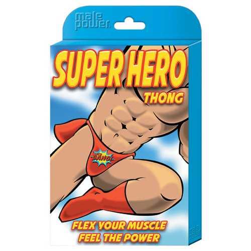 Male Power Super Hero Thong Black