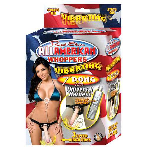 "All American Mini Whoppers Vibrating 7"" Dong w/Universal Harness - Flesh"